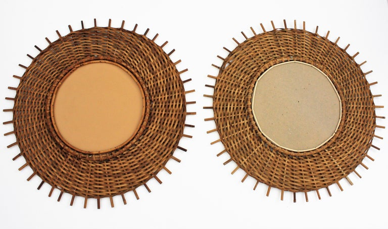 Pair of Braided Rattan and Wicker Round Sunburst Mirrors from Spain, 1960s For Sale 4