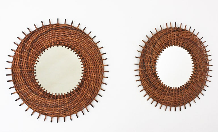 Pair of Braided Rattan and Wicker Round Sunburst Mirrors from Spain, 1960s For Sale 5