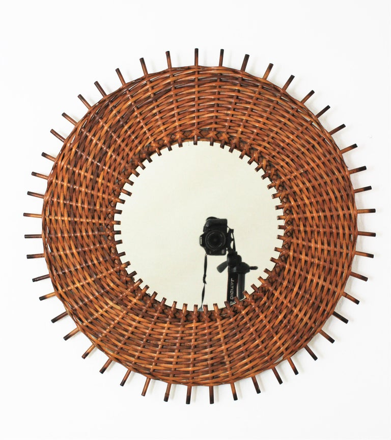 Mid-Century Modern Pair of Braided Rattan and Wicker Round Sunburst Mirrors from Spain, 1960s For Sale