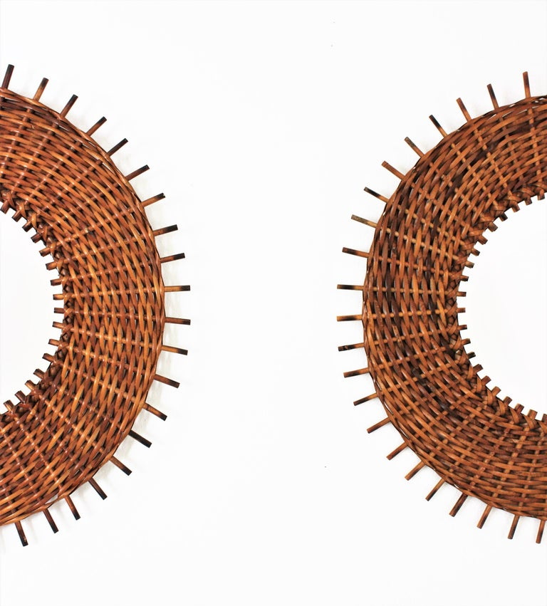Spanish Pair of Braided Rattan and Wicker Round Sunburst Mirrors from Spain, 1960s For Sale