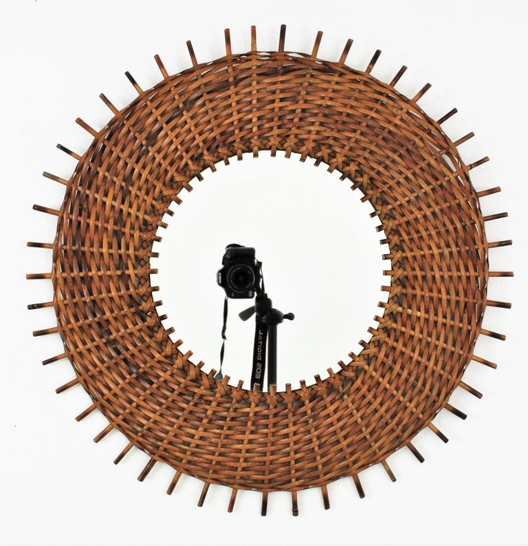 Hand-Crafted Pair of Braided Rattan and Wicker Round Sunburst Mirrors from Spain, 1960s For Sale