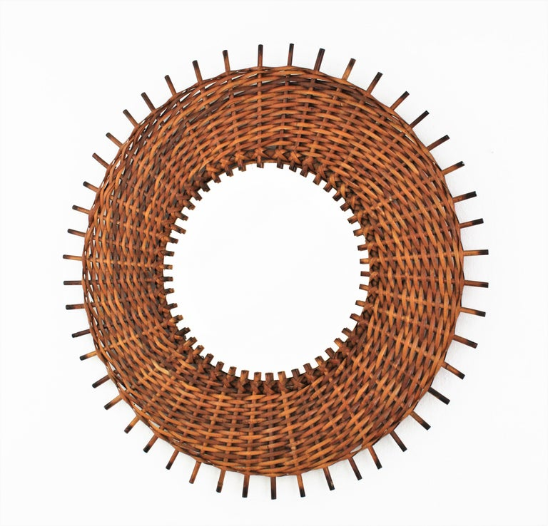 Pair of Braided Rattan and Wicker Round Sunburst Mirrors from Spain, 1960s In Good Condition For Sale In Barcelona, ES