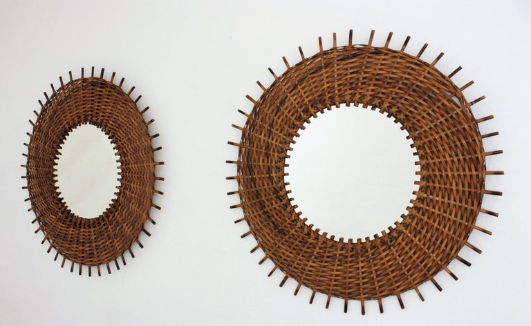 Pair of Braided Rattan and Wicker Round Sunburst Mirrors from Spain, 1960s For Sale 1