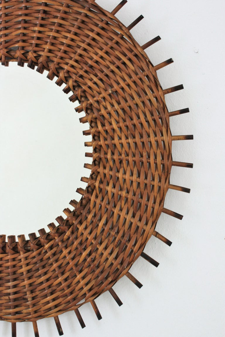Pair of Braided Rattan and Wicker Round Sunburst Mirrors from Spain, 1960s For Sale 2