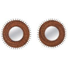Pair of Braided Rattan and Wicker Round Sunburst Mirrors from Spain, 1960s