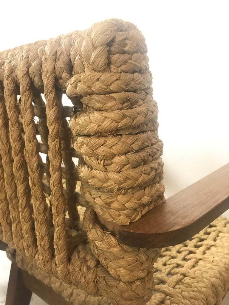 Pair of Braided Rope Chairs by Adrien Audoux and Frida Minet, circa 1950 For Sale 2