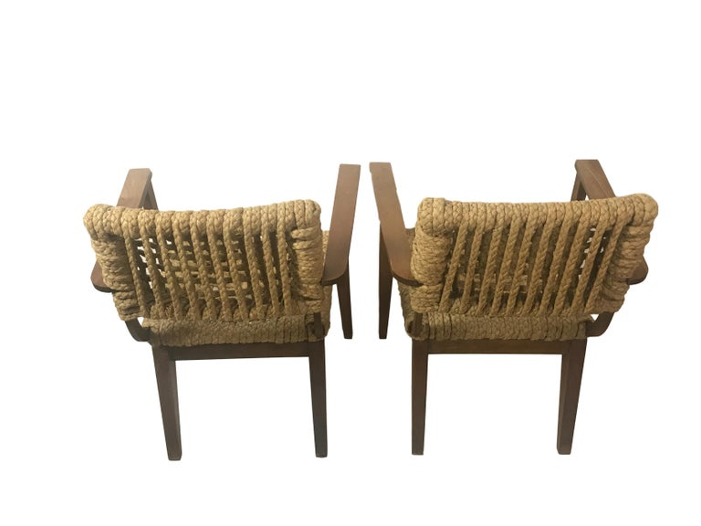 French Pair of Braided Rope Chairs by Adrien Audoux and Frida Minet, circa 1950 For Sale