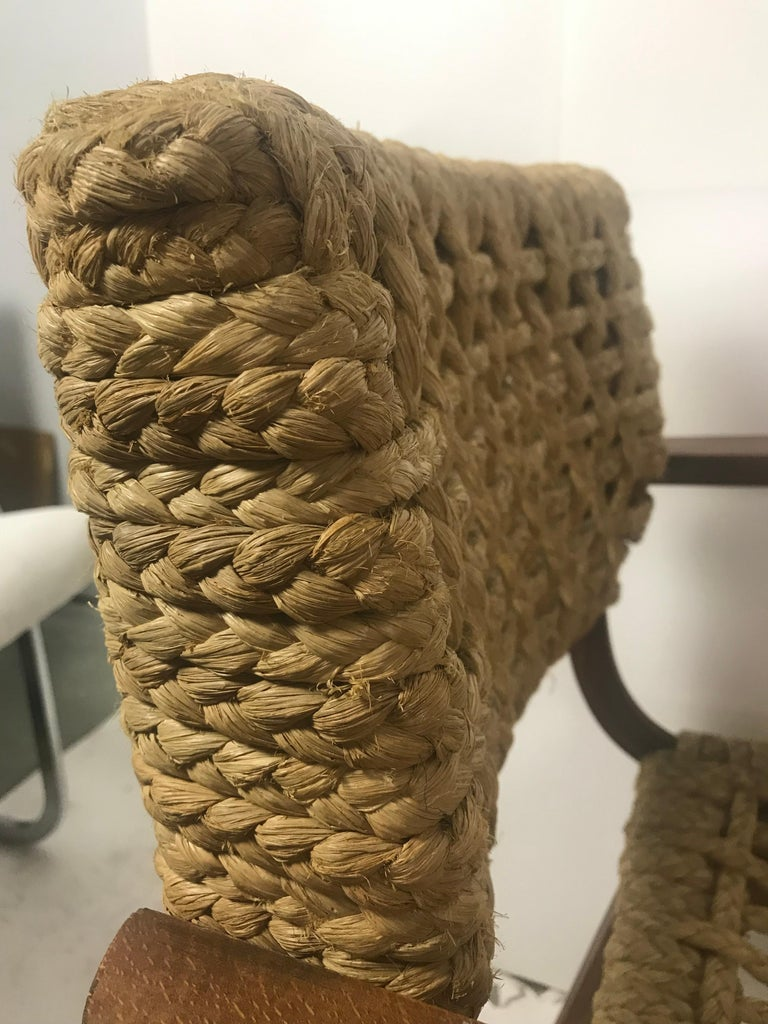 Pair of Braided Rope Chairs by Adrien Audoux and Frida Minet, circa 1950 In Good Condition For Sale In Seattle, WA