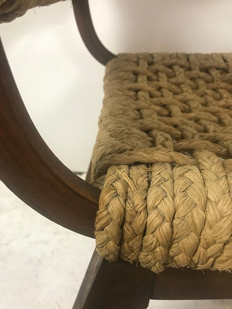 Mid-20th Century Pair of Braided Rope Chairs by Adrien Audoux and Frida Minet, circa 1950 For Sale