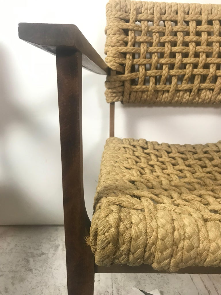 Pair of Braided Rope Chairs by Adrien Audoux and Frida Minet, circa 1950 For Sale 1