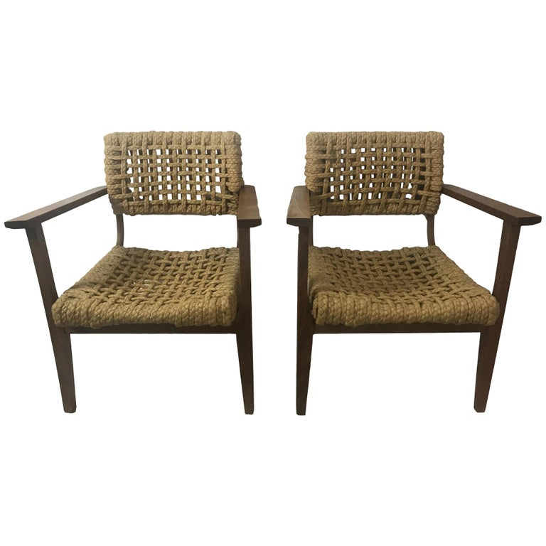 Pair of Braided Rope Chairs by Adrien Audoux and Frida Minet, circa 1950 For Sale