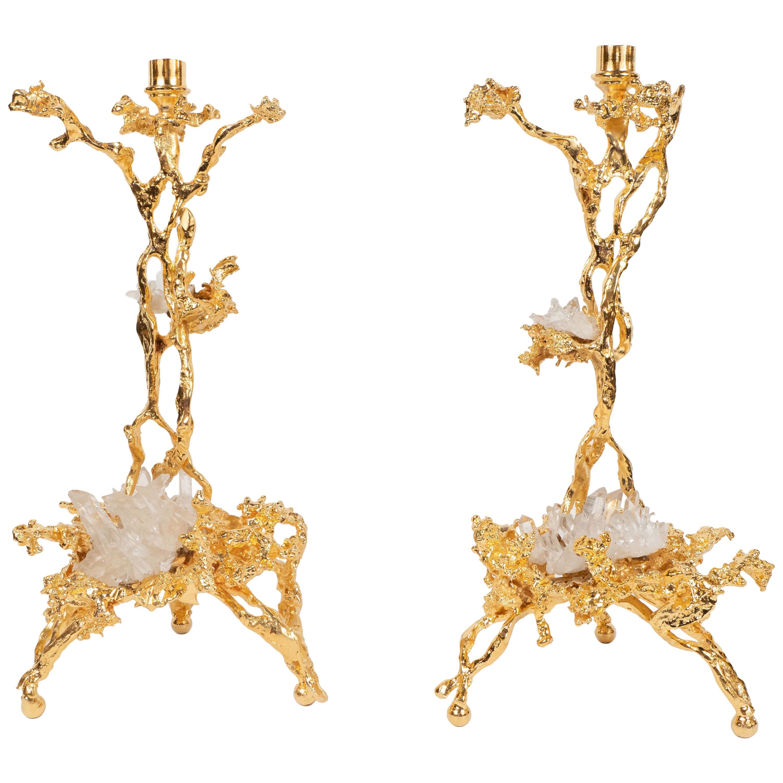 Pair of Branch Form 24-Karat Gilded Bronze Candlesticks by Claude Boeltz