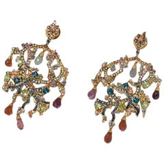 Pair of Branched Gemstone Earrings, Gold-Plated Sterling Silver