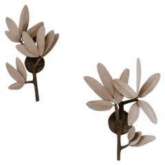 Pair of Branches and Leaves Sconces/ Wall Appliques