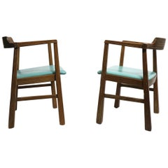 Pair of Brandt Ranch Oak, Arm Lounge Chairs