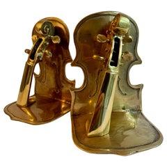 Pair of Brass Guitar Bookends