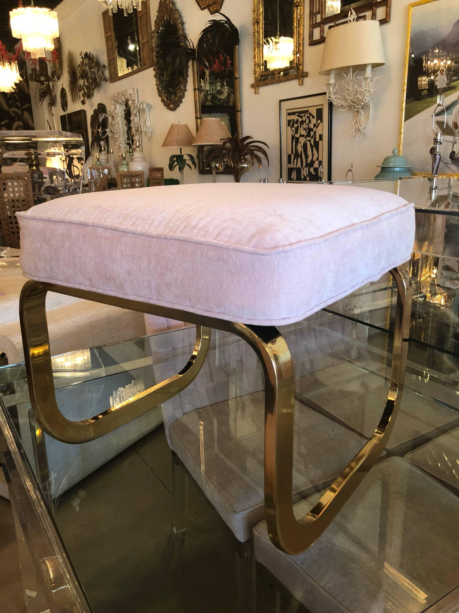 Pair of Brass and Pink Velvet Stools Benches Ottomans Hollywood ...