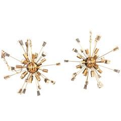 Pair of Brass 18 Light Sputnik Chandeliers in Mid-Century Modern Style