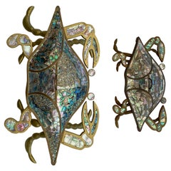Pair of Brass and Abalone Shell Crab Sculpture / Box
