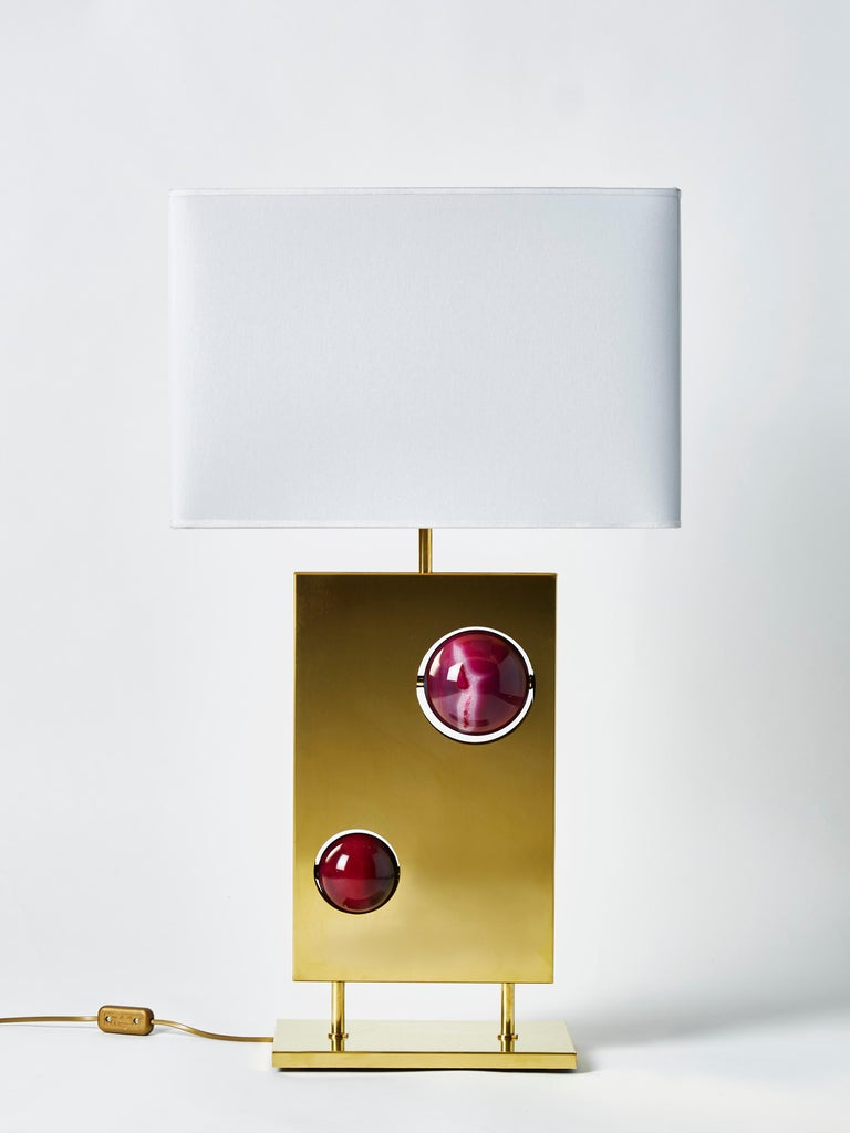 Contemporary Pair of Brass and and Pink Agates Rectangular Lamps For Sale