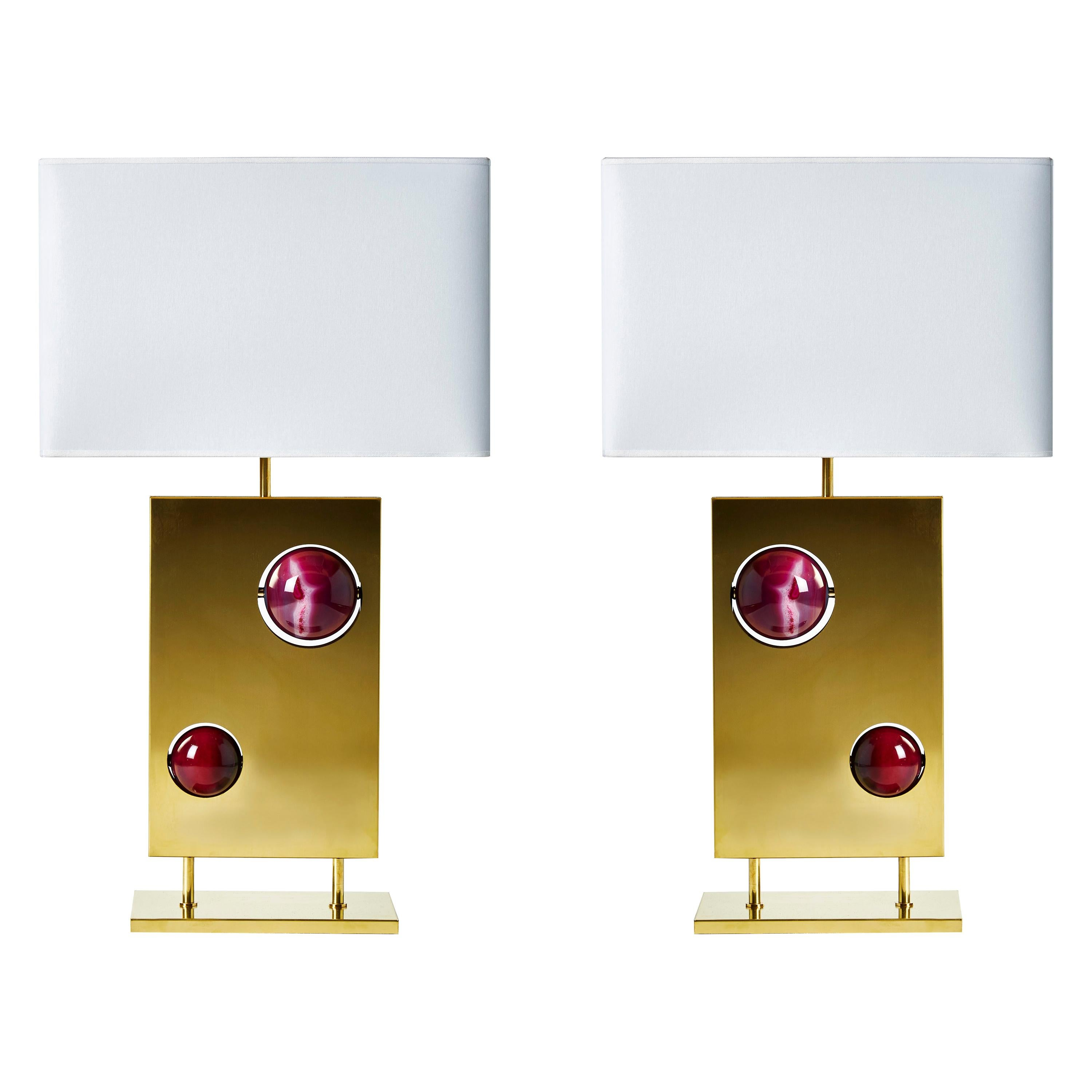 Pair of Brass and and Pink Agates Rectangular Lamps