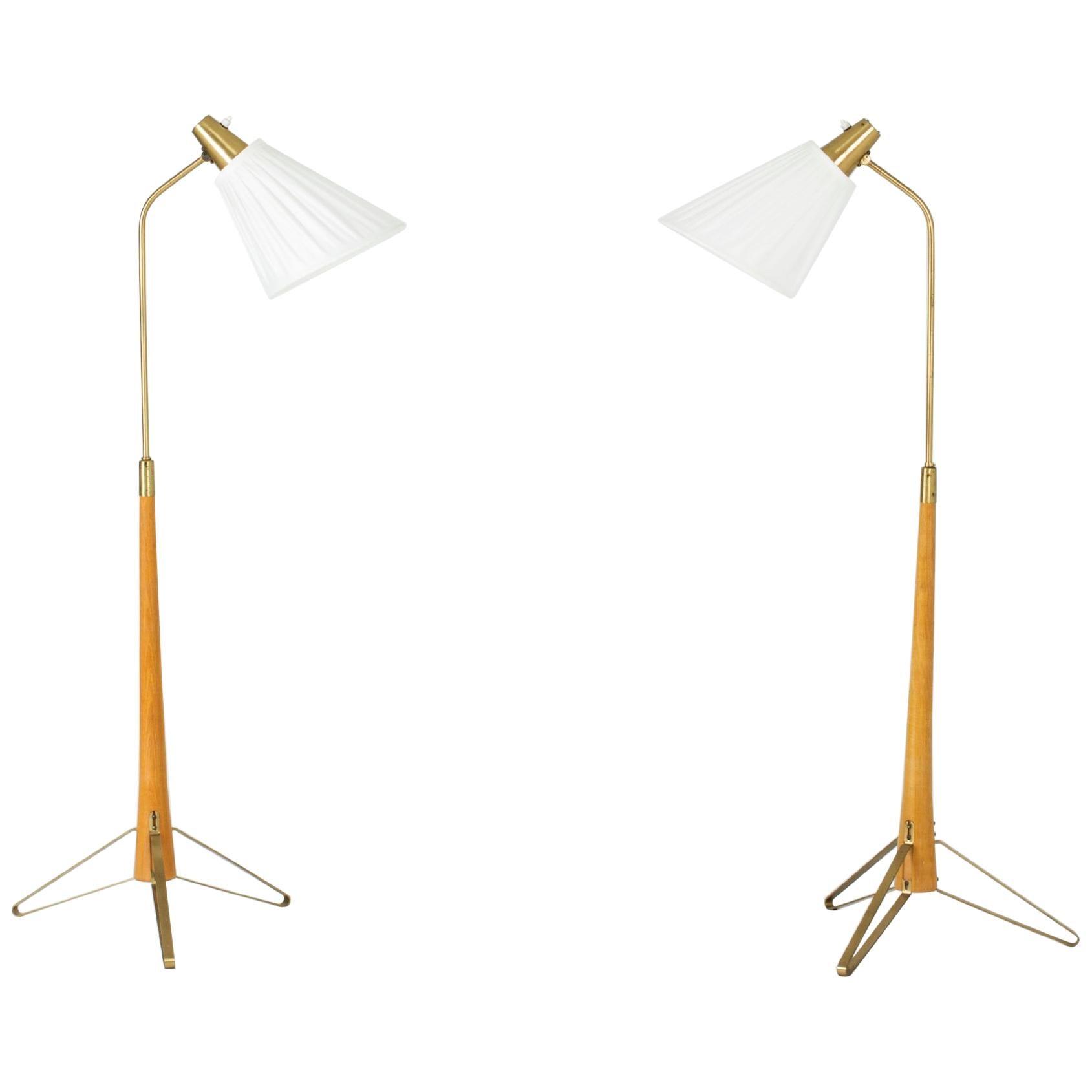 Pair of Brass and Beech Floor Lamps by Hans Bergström