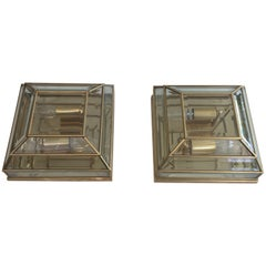 Pair of Brass and Beveled Glass Square Fixtures or Wall Lights