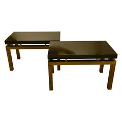 Pair of Brass and Black Lacquer Side Tables by Guy Lefevre for Maison Jansen