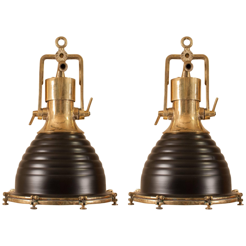 Pair Of Brass And Black Nautical Shipu0027s Pendant Lights
