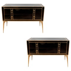 Custom Pair of Brass and Black Tinted Glass Commodes or Chest of Drawers, Italy