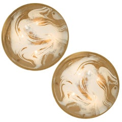 Pair of Brass and Blown Murano Glass Flush Mounts Wall Lights by Hillebrand