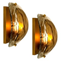 Pair of Brass and Brown Glass Hand Blown Murano Glass Wall Lights by J. Kalmar