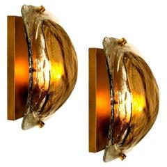Pair of Brass and Brown Glass Hand Blown Murano Glass Wall Lights by J. Kalmar