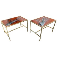 Pair of Brass and Ceramic Side Table, Italy, 1970s