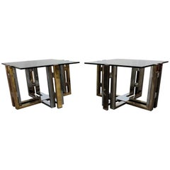 Pair of Brass and Chrome Coffee Table, 1970s
