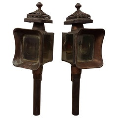 Pair of Brass and Copper Carriage Lanterns