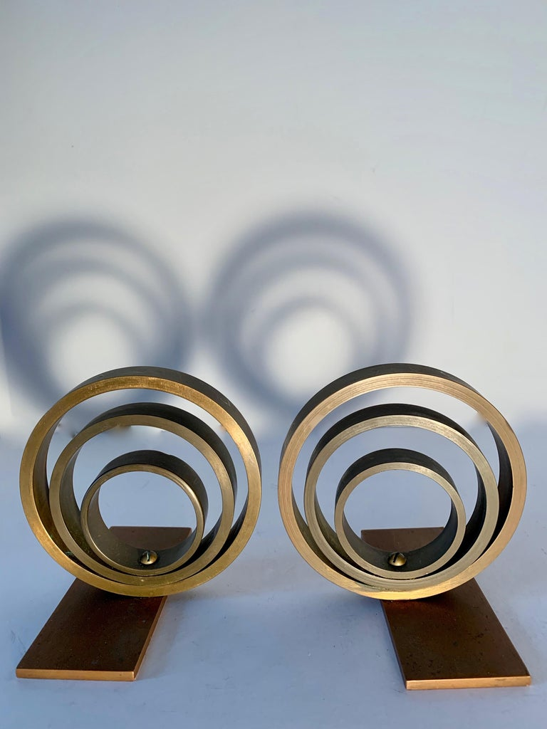 Art Deco Pair of Brass and Copper Ring Bookends For Sale
