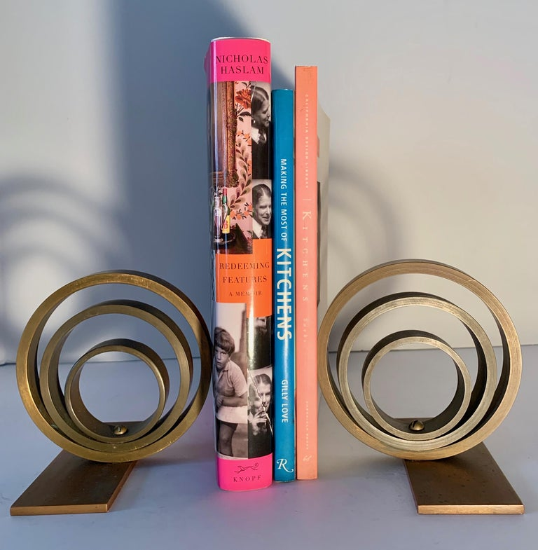 20th Century Pair of Brass and Copper Ring Bookends For Sale