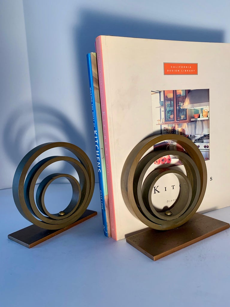 Pair of Brass and Copper Ring Bookends For Sale 1