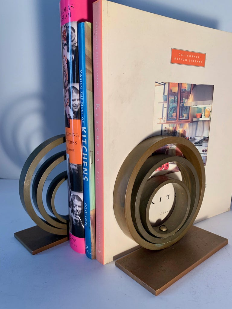 Pair of Brass and Copper Ring Bookends For Sale 2
