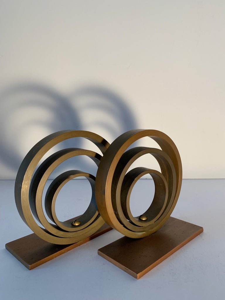 Pair of Brass and Copper Ring Bookends For Sale 3