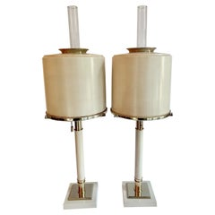 Pair of Laurel Lamps in Cream Metal with Brass Detailing