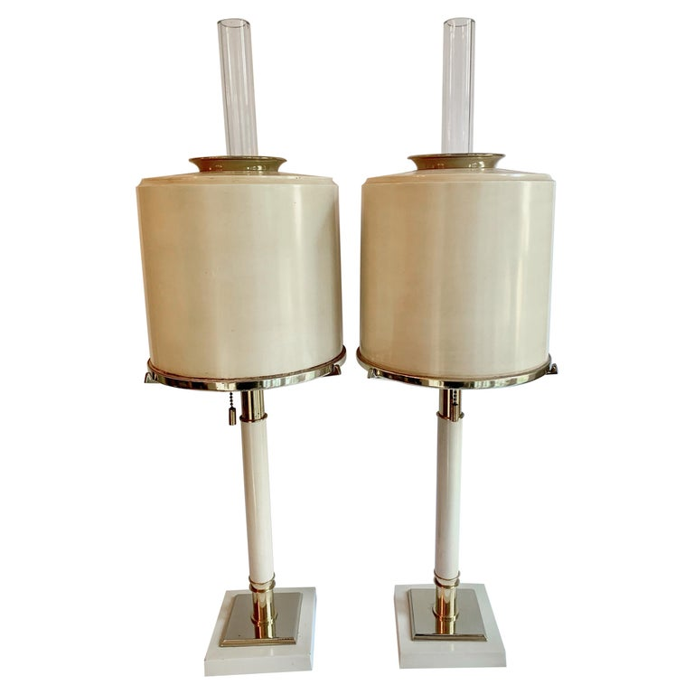 Pair of Laurel Lamps in Cream Metal with Brass Detailing For Sale