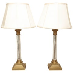 Pair of Brass and Crystal Candlestick Lamps by Vaughan