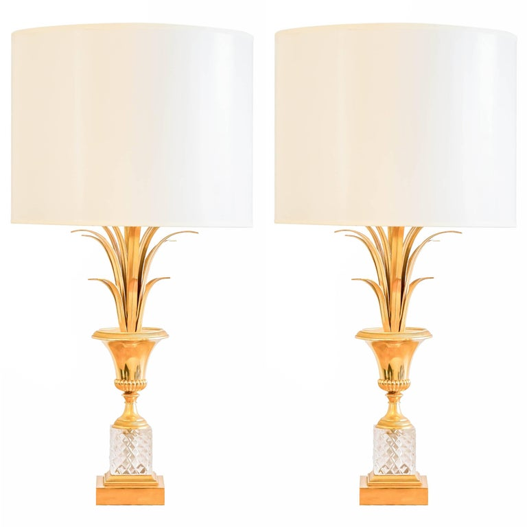 Pair of Brass and Crystal Lamps in the Maison Charles Manner