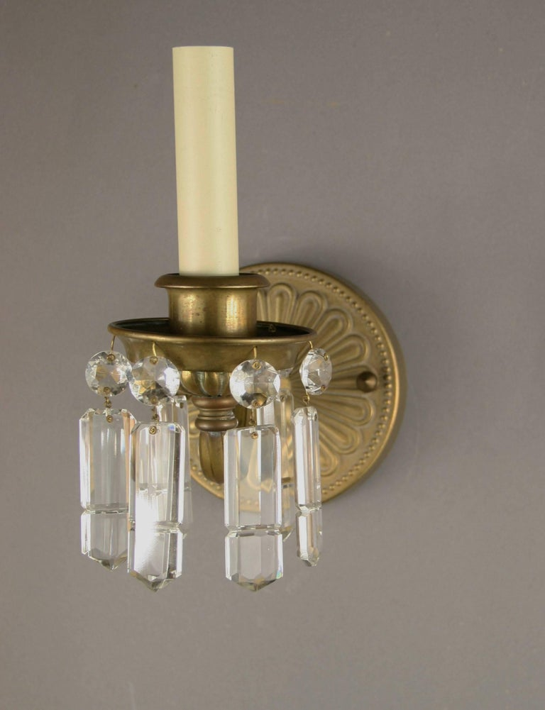 Pair of Brass and Crystal Sconces In Good Condition For Sale In Douglas Manor, NY
