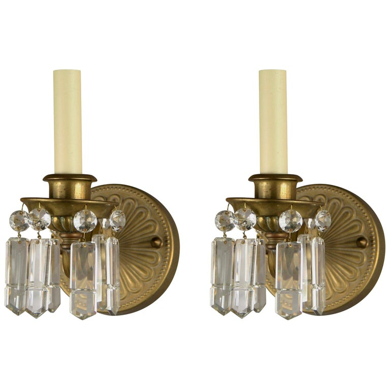 Pair of Brass and Crystal Sconces For Sale