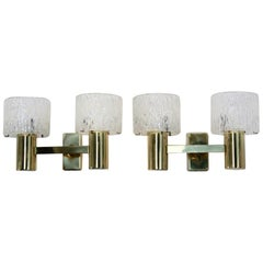 Pair of Brass and Crystal Wall Lamps designed by Carl Fagerlund for Orrefors