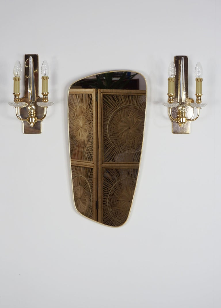 French Pair of Brass and Crystal Wall Lights For Sale