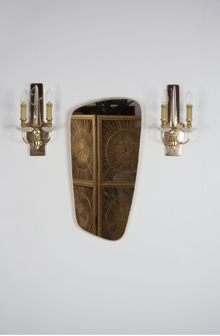 Pair of Brass and Crystal Wall Lights For Sale 1